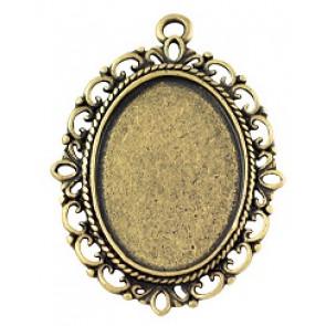osnova za obesek - medaljon 39x29x2mm, antik, brez niklja, velikost kapljice: 18x25 mm, 1 kos
