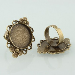 osnova za prstan za kapljico 20 mm, premer nastavljivega obročka: 17 mm, antik, brez niklja, 1 kos