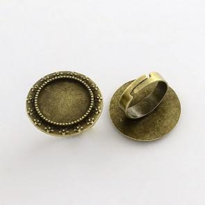 osnova za prstan za kapljico 18 mm, premer nastavljivega obročka: 17 mm, antik, brez niklja, 1 kos