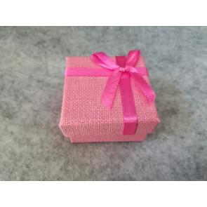 škatla za prstan 51x52x31 mm, videz jute, pink, 1 kos