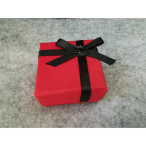 škatla za prstan 51x52x31 mm, videz jute, rdeča, 1 kos