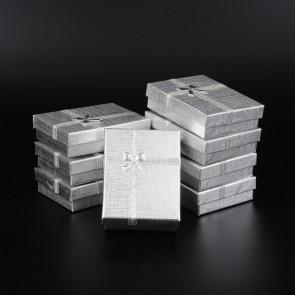 škatla za nakit 90x70x30 mm, srebrne barve, 1 kos