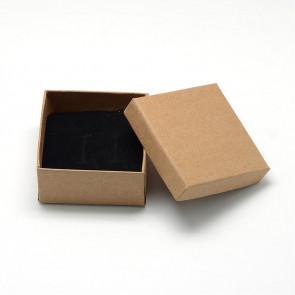 škatla za nakit (za prstan in ogrlico) 7x7x3.5 cm, rjava, 1 kos