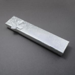 škatla za ogrlico 215x43x24 mm, srebrne barve, 1 kos