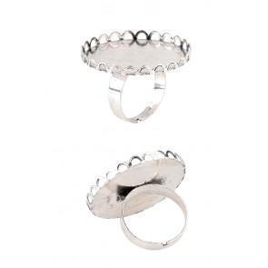 osnova za prstan za kapljico 30 mm, premer nastavljivega obročka: 18 mm, barva starega srebrna, 1 kos