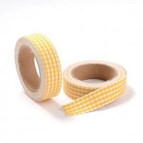 Washi tape - dekorativni lepilni trak - mrežasti rumen, širina: 15 mm, dolžina: 5 m, 1 kos