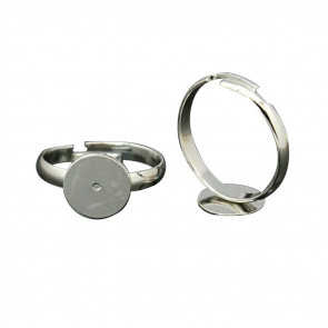 osnova za prstan s ploščico 8 mm, premer nastavljivega obročka: 14 mm - OTROŠKI, platinaste b., brez niklja, 1 kos