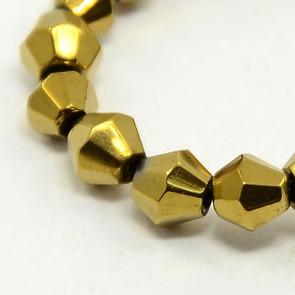 steklene perle - bikoni 4 mm, zlati, 1 niz - cca 82 kos