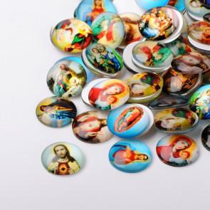 steklena kapljica 25 mm, nabožne podobe mix, 1 kos