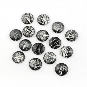 steklena kapljica 25 mm, drevesa na črni podlagi, mix, 1 kos