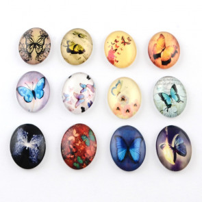 steklena kapljica 35x25 mm, metulji mix, 1 kos