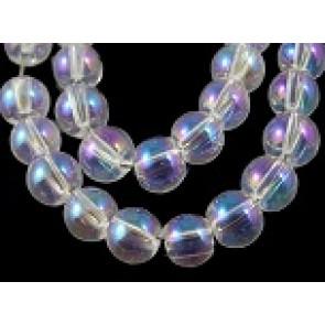 steklene perle 4 mm, prozorne AB, 1 niz - 32 cm