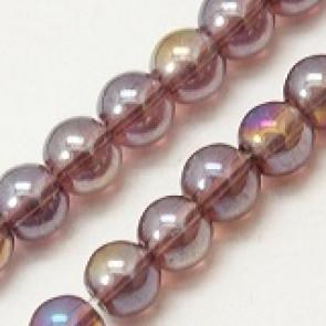 steklene perle 4 mm, vijola AB, 1 niz - 32 cm