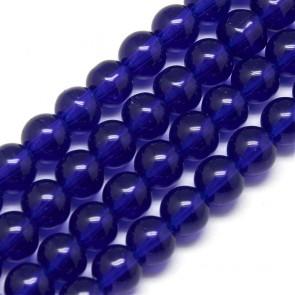 steklene perle 4 mm, t. modre, 1 niz - 32 cm
