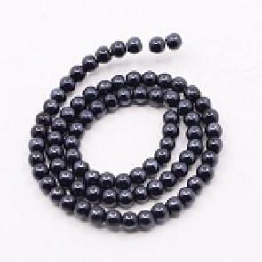 steklene perle svetleče, 4 mm, črne, 1 niz - 32 cm