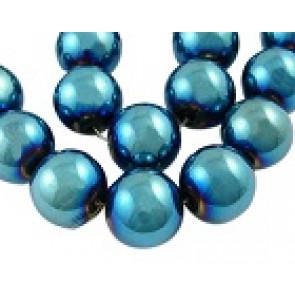 steklene perle svetleče, 4 mm, modre, 1 niz - 32 cm