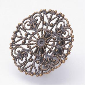 osnova za prstan z ornamentom 32 mm, premer nastavljivega obročka: 16 mm,antik, 1 kos
