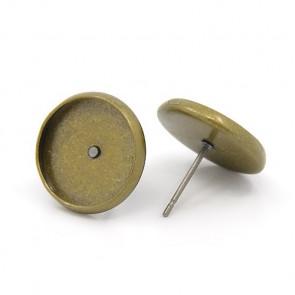 osnova za uhane 14x14x2 mm, antik, brez niklja, velikost kapljice: 12 mm, debelina igle: 0.7 mm, 1 kos