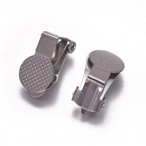 osnova za uhane - nerjaveče jeklo, 15.5 x 10 x 9 mm, za ušesa brez lukenj, 1 kos