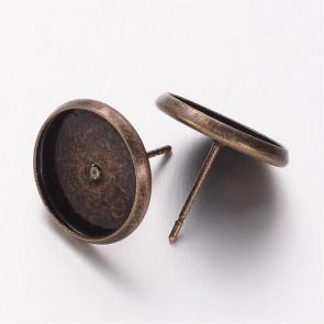 osnova za uhane 14x12mm, antik, brez niklja, velikost kapljice: 12 mm, 1 kos