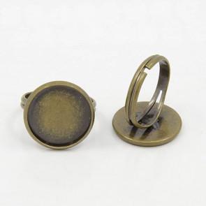 osnova za prstan za kapljico 16 mm, premer nastavljivega obročka: 17 mm, antik, 1 kos