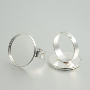 osnova za prstan za kapljico 20 mm, premer nastavljivega obročka: 18 mm, srebrne barve, 1 kos