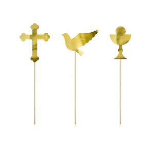 napisi za torto (topper), zlato, 26,5-31,5 cm, 1 komplet (6 kosov)
