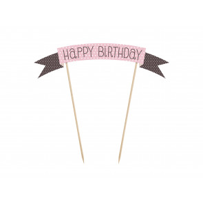 "napis za torto (topper), roza s pikami ""Happy Birthday"", 16,5x19 cm, 1 kos"