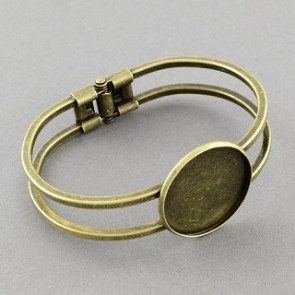 kovinska osnova za zapestnico 60 mm, antik, 1 kos