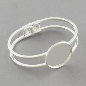 kovinska osnova za zapestnico 60 mm, srebrne b., velikost kapljice: 25 mm, 1 kos