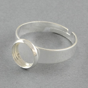 osnova za prstan za kapljico 8 mm, premer nastavljivega obročka: 18 mm, srebrne barve, 1 kos