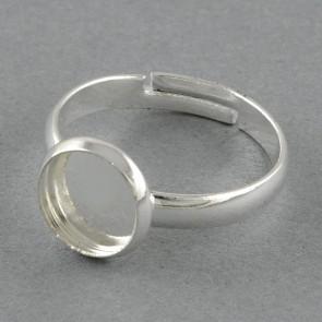 osnova za prstan za kapljico 10 mm, premer nastavljivega obročka: 18 mm, srebrne barve, 1 kos