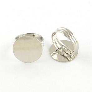 osnova za prstan s ploščico 20 mm, premer nastavljivega obročka: 18 mm, platinaste barve, brez niklja, PRIMEREN ZA MOČNEJŠE PRSTE, 1 kos