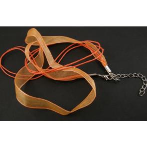 osnova za ogrlico z zaključkom, oranžna, 1 kos
