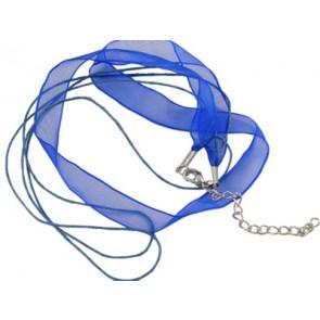 osnova za ogrlico z zaključkom, modra, 1 kos