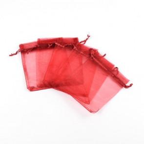 organza vrečke 12x10 cm, temno rdeča, 1 kos