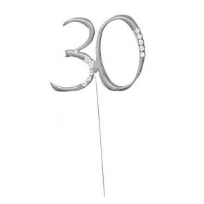 """kovinski napis za torto 30 """"topper"""", srebre b., 4,5x6,5 cm, 1 kos"""