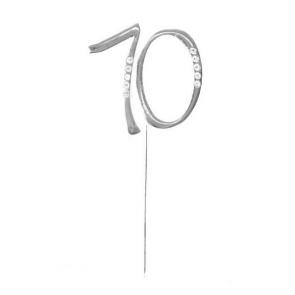 """kovinski napis za torto 70 """"topper"""", srebre b., 4,5x6,5 cm, 1 kos"""