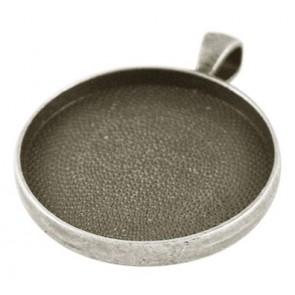 osnova za obesek - medaljon 41x33x4mm, b. starega srebra, brez niklja, velikost kapljice: 30 mm, 1 kos