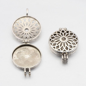 Diffuser - obesek za ogrlico 45x33x8 mm, širina za blazinico: 30 mm (BLAZINICA NI VKLJUČENA), b. starega srebra, 1 kos