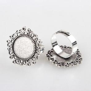 osnova za prstan za kapljico 14 mm, premer nastavljivega obročka: 17 mm, b. starega srebra, 1 kos