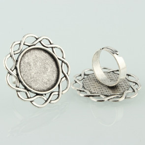 osnova za prstan za kapljico 20mm, premer nastavljivega obročka: 17 mm, b. starega srebra, 1 kos