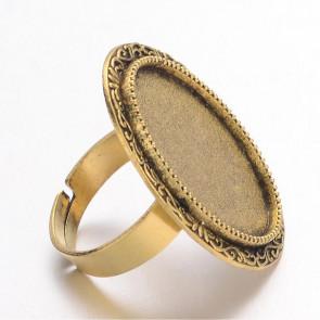 osnova za prstan za kapljico 18X25 mm, premer nastavljivega obročka: 17 mm, brez niklja, zlato antik, 1 kos
