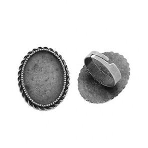 osnova za prstan za kapljico 18 x 25 mm, premer nastavljivega obročka: 17 mm, b.starega s., brez niklja, 1 kos