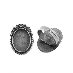 osnova za prstan za kapljico 18X13 mm, premer nastavljivega obročka: 17X5 mm, b. starega srebra, 1 kos