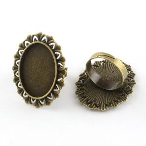 osnova za prstan za kapljico 18X25 mm, premer nastavljivega obročka: 17,5 mm, antik, brez niklja, 1 kos