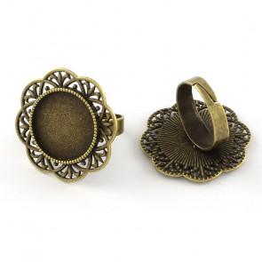 osnova za prstan za kapljico 18 mm, premer nastavljivega obročka: 17,5mm, antik, brez niklja, 1 kos