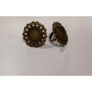 osnova za prstan za kapljico 20 mm, premer nastavljivega obročka: 18 mm, antik,  1 kos