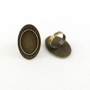 osnova za prstan za kapljico 18 x 25 mm, premer nastavljivega obročka: 18 mm, antik, 1 kos