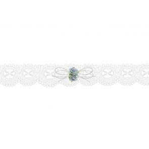 čipkasta podvezica z vrtnicami, krem, 3,5 cm, 1 kos
